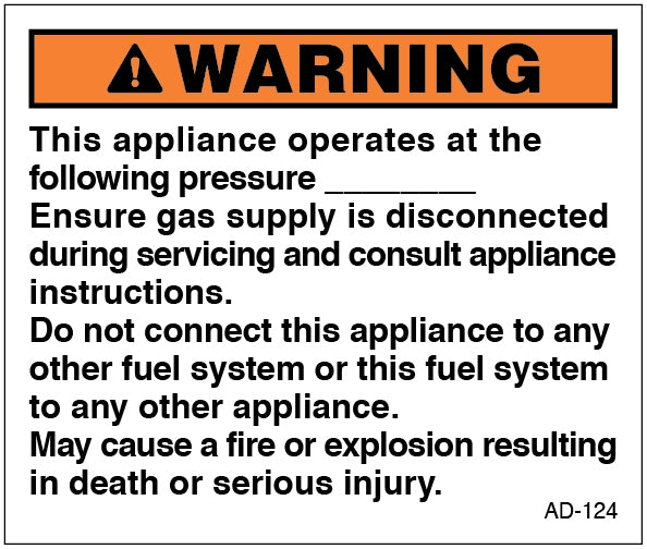 AD-124: This appliance operates at the following pressure. Pack of 100.