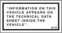 AD-30: Information on this vehicle appears on the technical data sheet. Pack of 100.