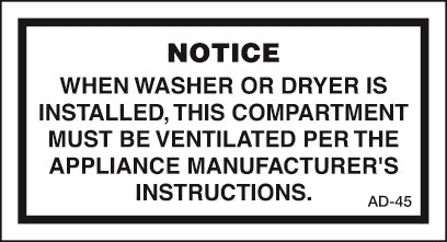 AD-45: When washer or dryer. Pack of 100.