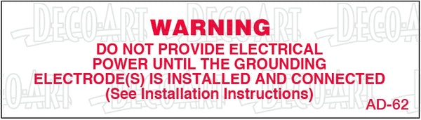 AD-62: Power supply warning. Pack of 100.