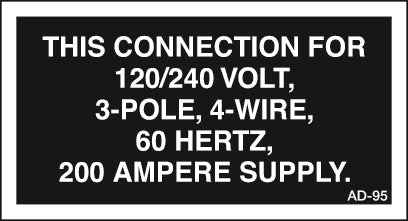 AD-95: This connection 120/240 volt, 200 amp. Pack of 100.