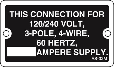 AS-32M: This connection 120/240 volt, blank amp (metal). Pack of 100.