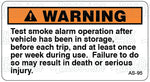 AS-95: Test smoke alarm after vehicle has been in storage. Pack of 100.