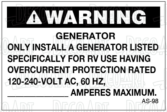 AS-98: Generator circuit: 120/240 volt, 60 hz, blank amp. Pack of 100.