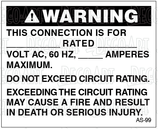 AS-99: Do not exceed circuit rating. Pack of 100.