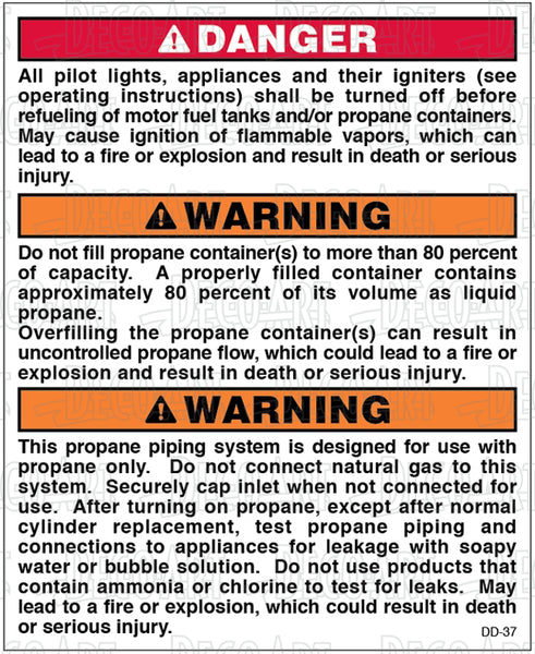 DD-37: Propane pipe instructions and pilot warning. Pack of 100.