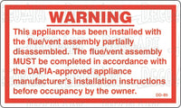 DD-85: Flue assembly-warning. Pack of 100.