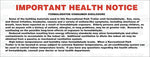 DO6004: Important health notice formaldehyde. Pack of 100.