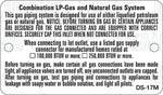 DS-17M: LP gas and natural gas system (metal). Pack of 100.