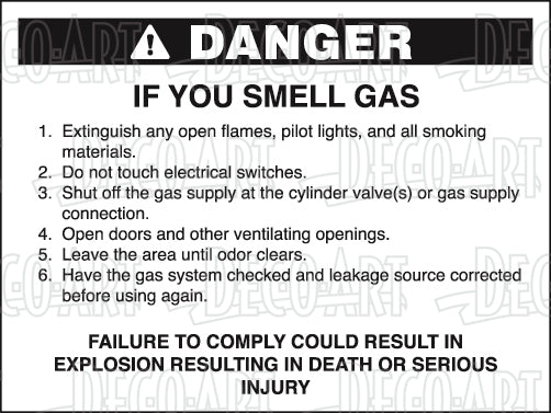 FA0046: Danger if you smell gas. Pack of 100.