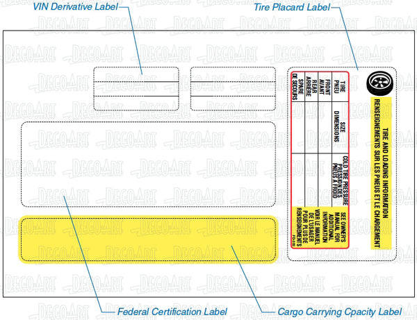 FD-332: RV certification, placard & CCC labels for Canada. Laser imprintable. Pack of 100.