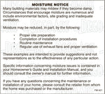FM-421: Moisture notice for mfg homes. Pack of 100.
