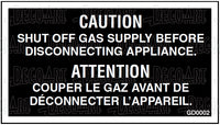 GD0002: Shut off gas supply before disconnecting appliance for Canada. Pack of 100.