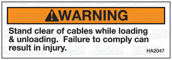 HA2047: Stand clear of cables-warning. Pack of 100.