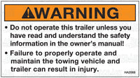 HA2068: Do not operate trailer... Pack of 100.