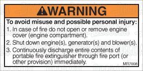 MR7008: In case of fire, multiple warnings. Pack of 50.