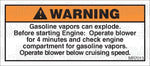 MR7013: Gasoline vapors can explode. Before starting engine... Pack of 50.