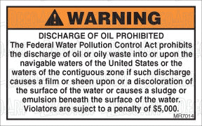MR7014: Discharge of oil prohibited. NMMA Certification. Pack of 50.