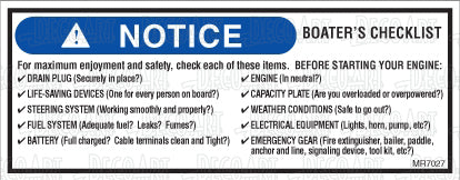 "MR7027: Boater's checklist. Before starting engine? 5.75""x2.25""."
