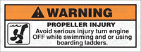 MR7065: Turn engine off while swimming or using ladder. Pack of 50.