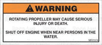 MR7074: Shut off engine when near persons in the water. Pack of 50.