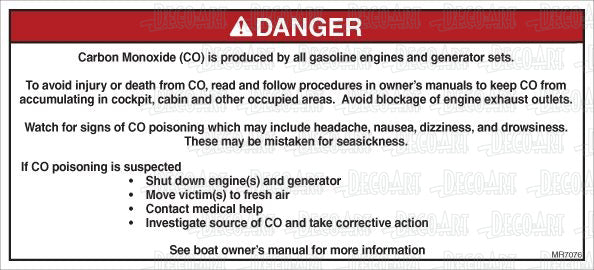 MR7076: Carbon monoxide warning. Read and follow procedures. Pack of 50.
