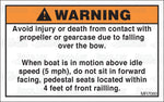 MR7080: Do not sit in pedestal seats within 4 feet or railing. Pack of 50.