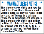 ND-01: Park Model Manufacturer's Notice. Pack of 100.