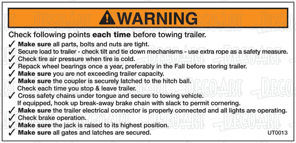 UT0013: Check following points before towing. Pack of 100.