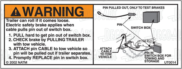 UT0014: Breakaway system (bumper pull). Pack of 100.