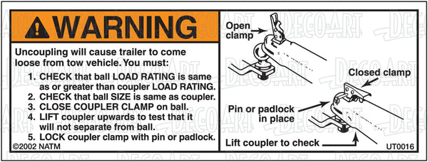 UT0016: Coupler must be unable to lift ball. Pack of 100.