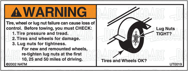 UT0019: Check tires & wheels before towing. Pack of 100.