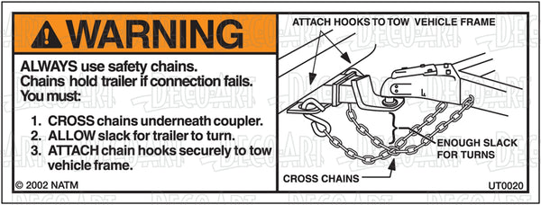 UT0020: Safety chains (bumper pull). Pack of 100.