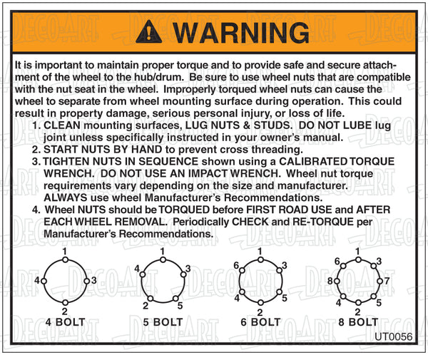 UT0056: Properly torque wheel nuts. Pack of 100.
