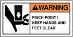 UT0076: Pinch point! Keep hands and feet clear. Pack of 100.