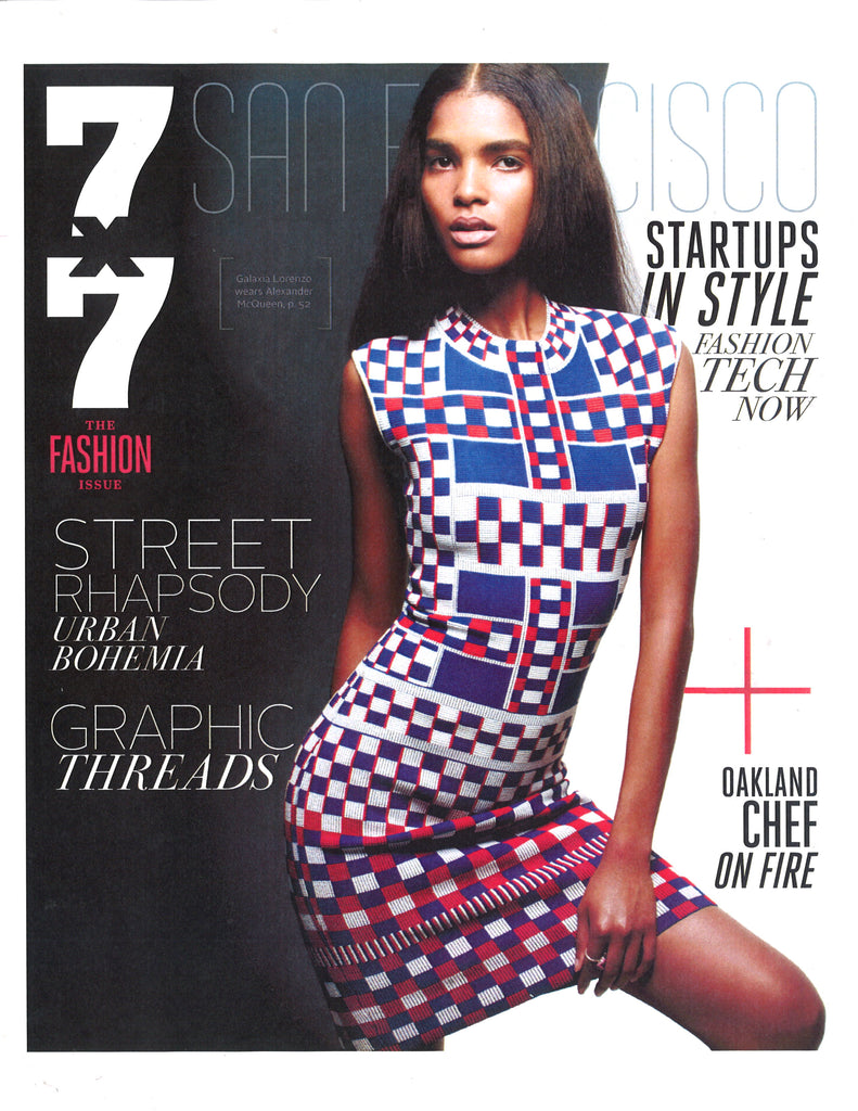 7x7 magazine cover with model