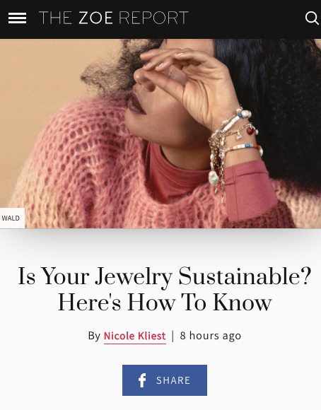 the zoe report feature on sustainable jewelry brands