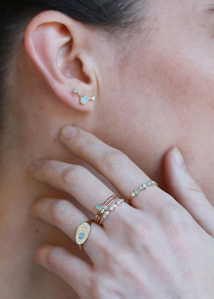 wwake earrings and rings on model