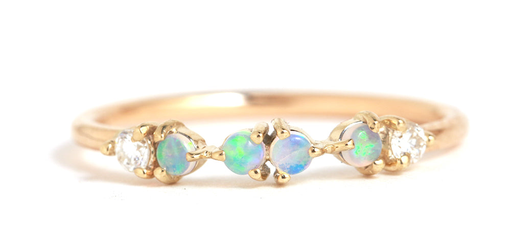 Opal and Diamond Demi Paired Ring - Melissa Joy Manning Jewelry