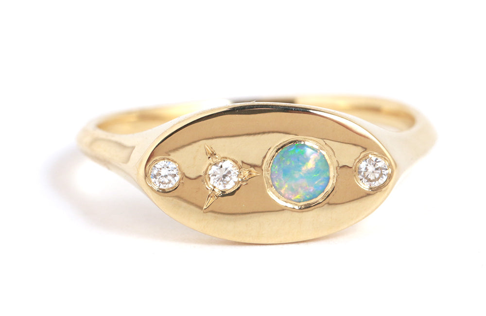 Opal and Diamond Signet Ring - Melissa Joy Manning Jewelry