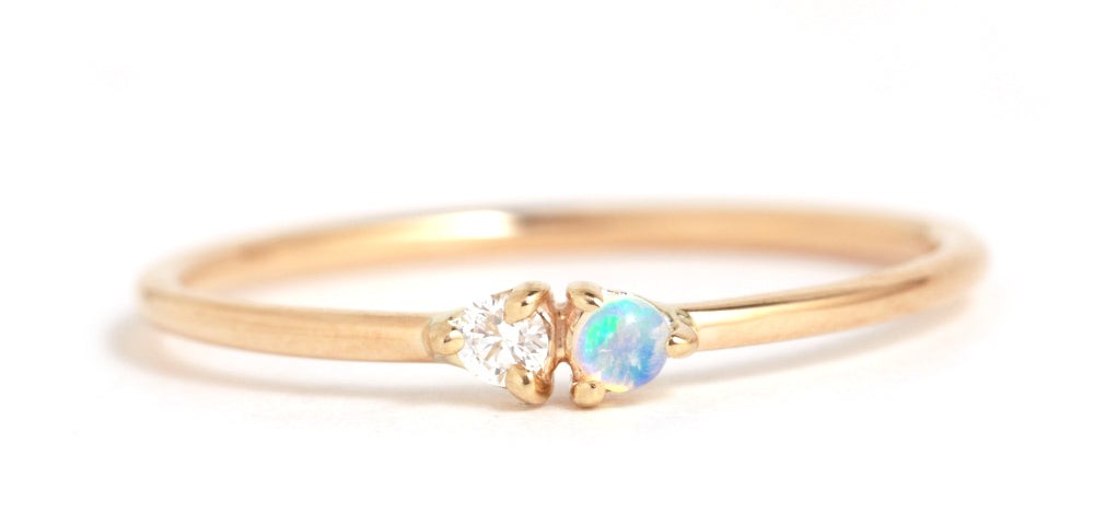 Opal and Diamond Double Stone Ring - Melissa Joy Manning Jewelry