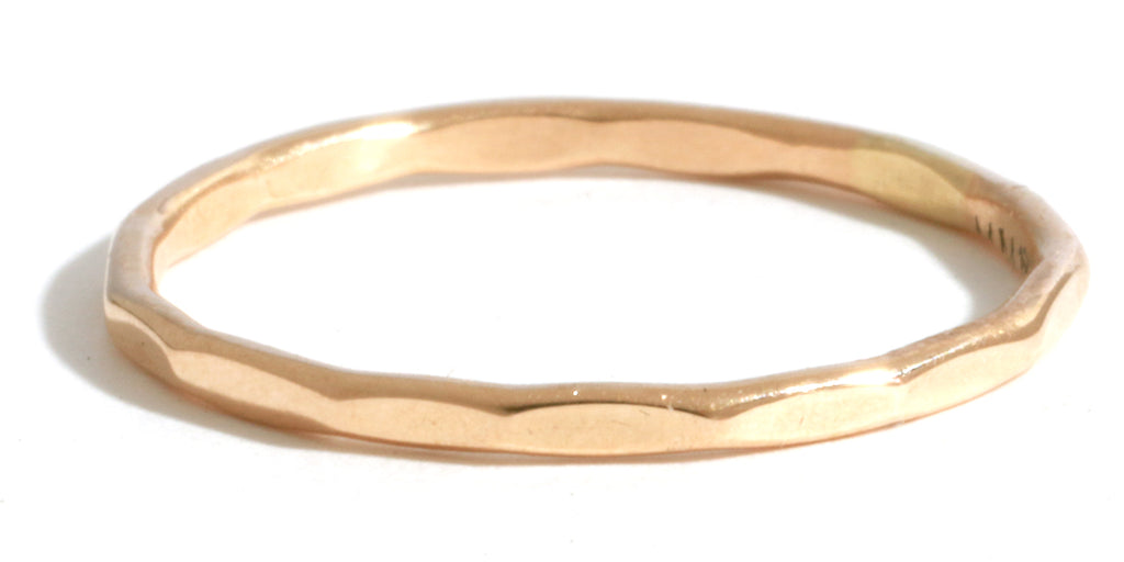 Hammered Texture 1mm Band - Yellow Gold - Melissa Joy Manning Jewelry