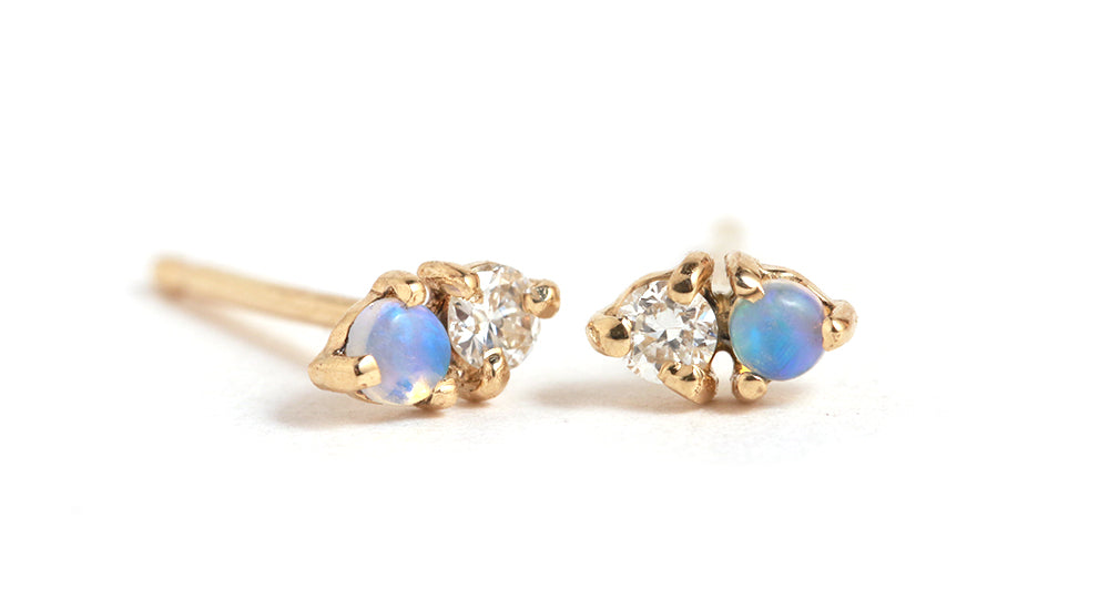 Opal and Diamond Two Step Earrings - Melissa Joy Manning Jewelry
