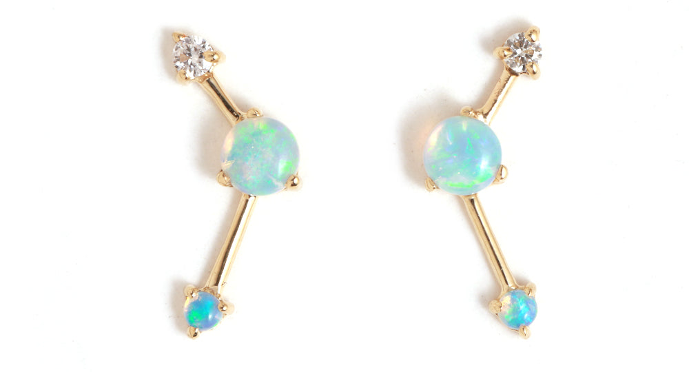 Opal and Diamond Three Step Earrings - Melissa Joy Manning Jewelry