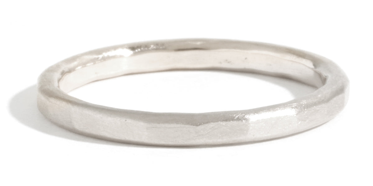 Hammered Texture 2mm Band - White Gold - Melissa Joy Manning Jewelry