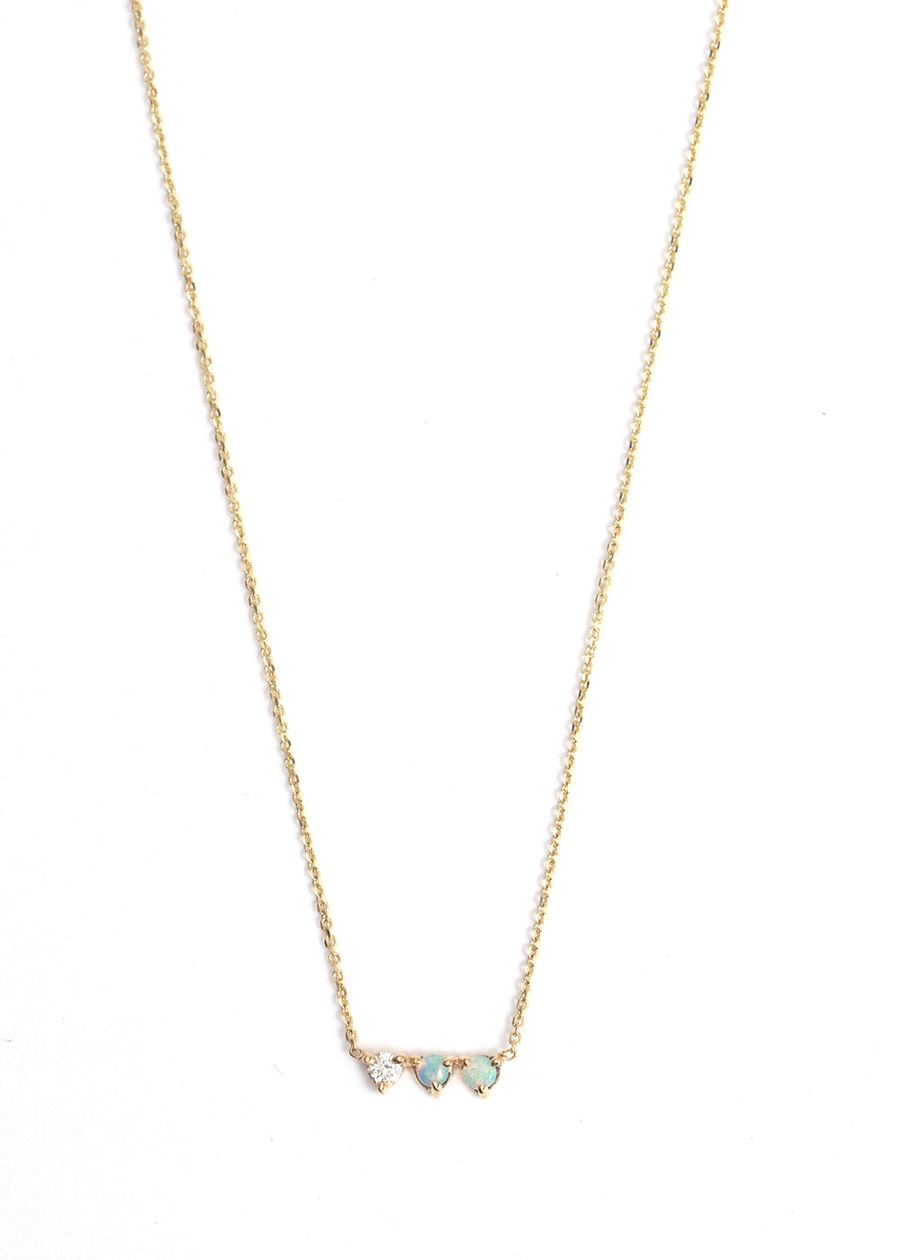 Opal and Diamond Three Points Necklace - Melissa Joy Manning Jewelry