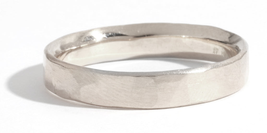 Hammered Texture 4mm Ring - White Gold - Melissa Joy Manning Jewelry