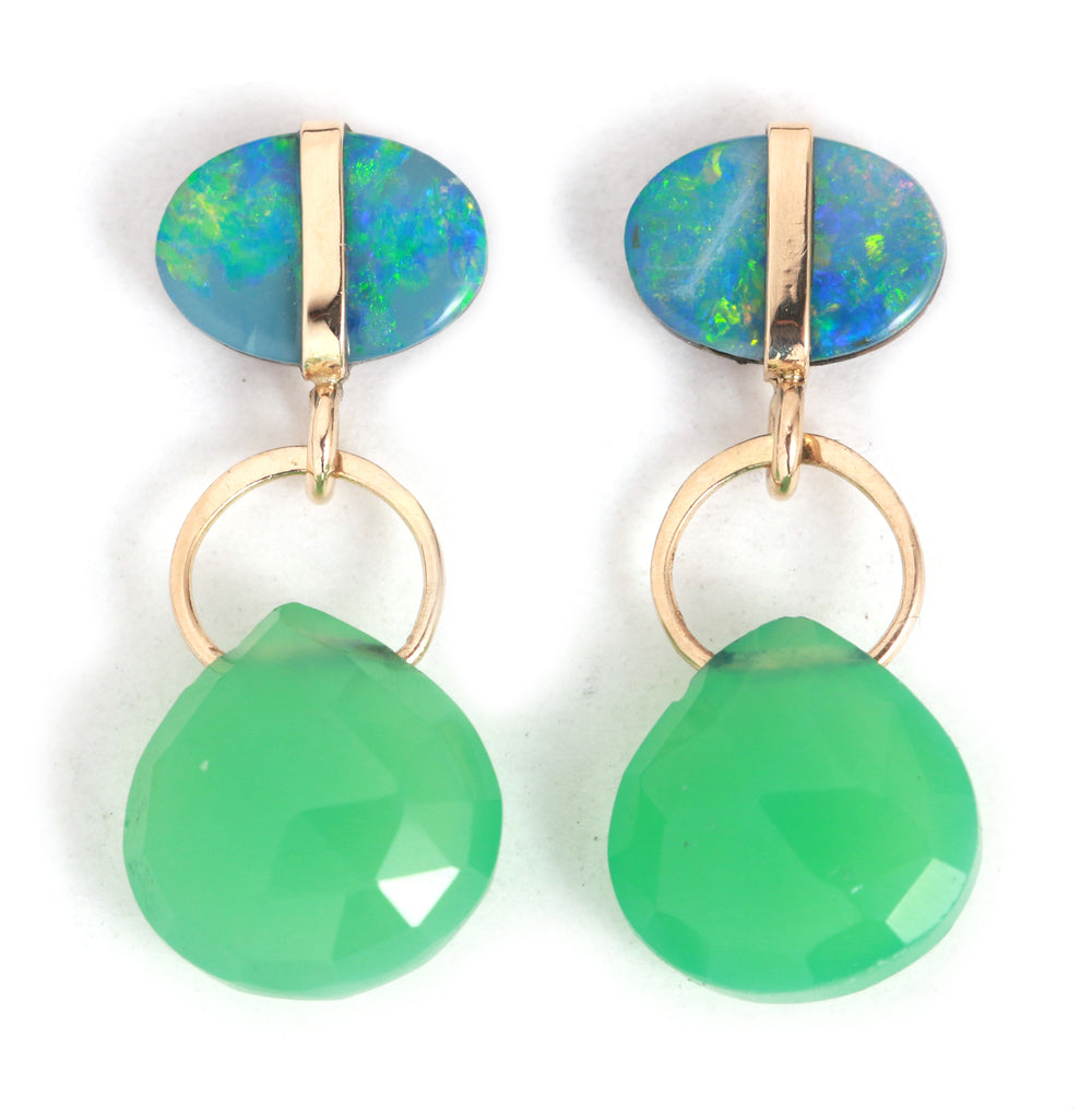 Australian opal studs with chrysoprase drops