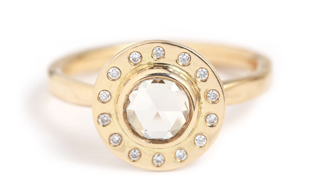White Diamond Halo Ring
