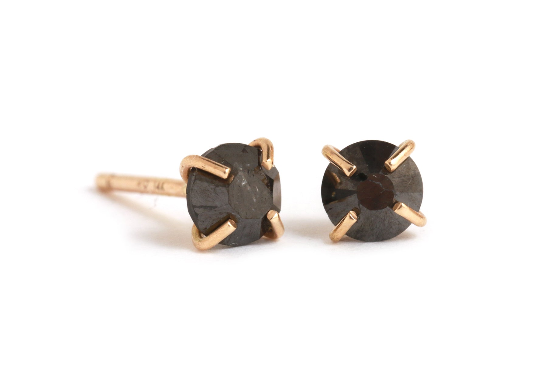 Round black diamond stud earrings - Melissa Joy Manning Jewelry